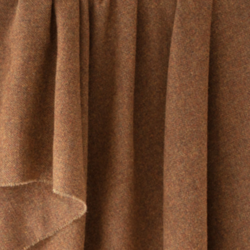 Rust Brown Herringbone Donegal Tweed Fabric