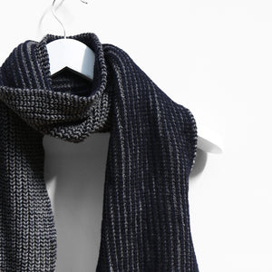 Ribbed Two Colour Scarf, Grey & Navy