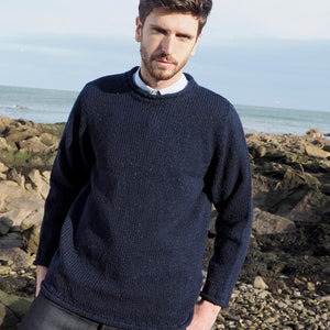 Roll Neck Sweater with flecks, Navy