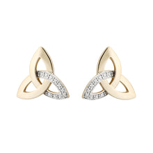 Load image into Gallery viewer, Trinity Knot Stud Earrings, Yellow Gold