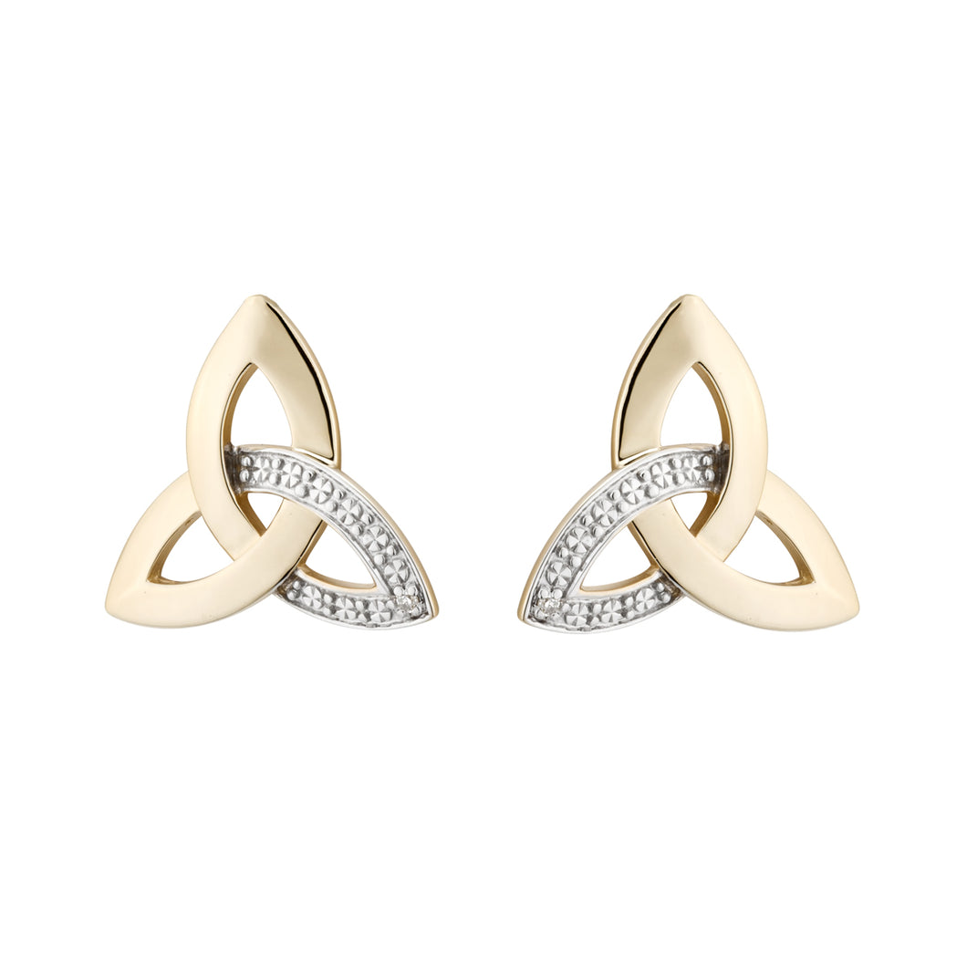 Trinity Knot Stud Earrings, Yellow Gold