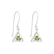 Load image into Gallery viewer, Sterling Silver Trinity Drop Earrings with Shamrock