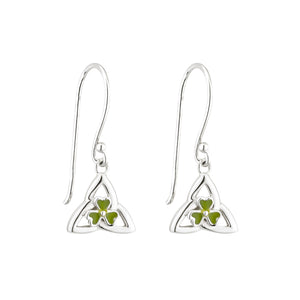 Sterling Silver Trinity Drop Earrings with Shamrock