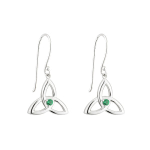 Sterling Silver Trinity Knot Drop Earrings with Emerald Glass Stones