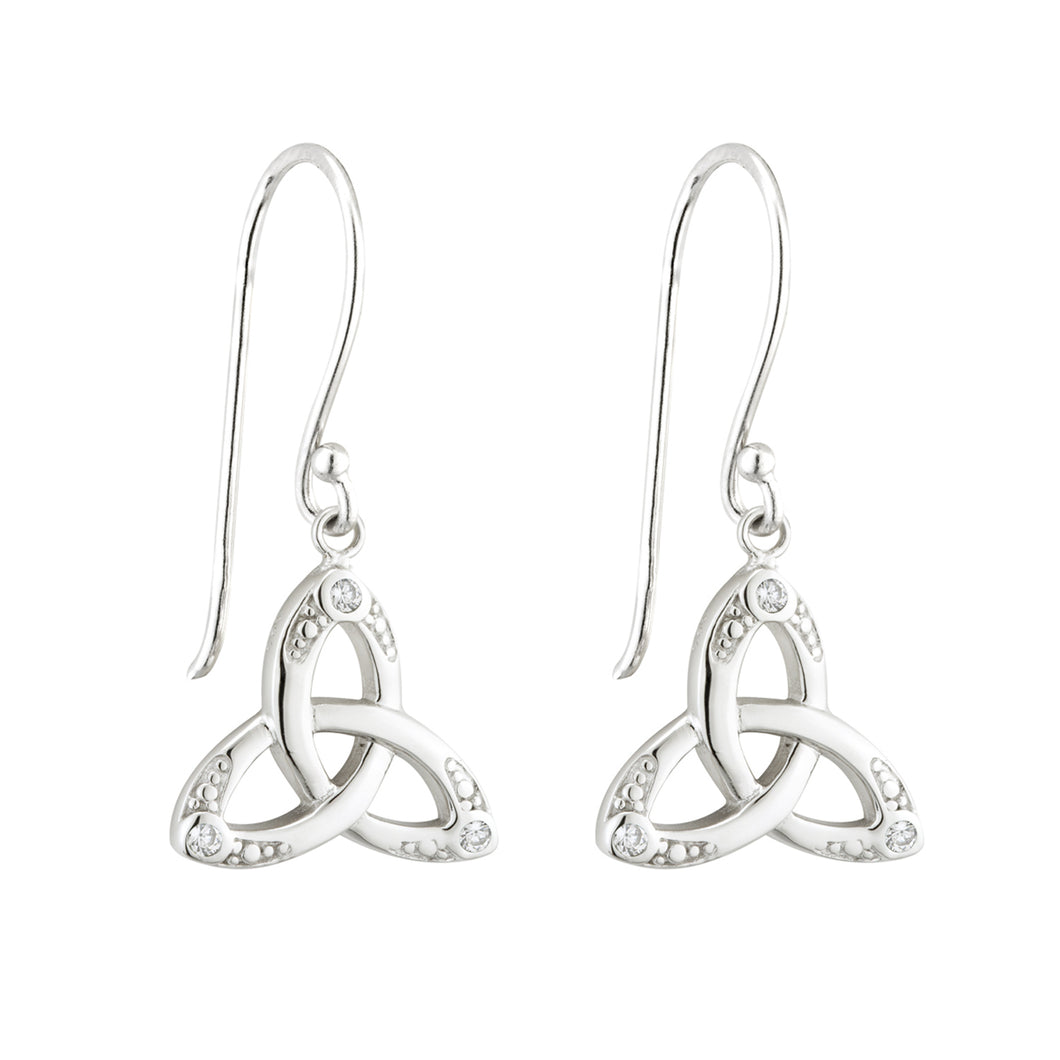 Sterling Silver Trinity Knot Drop Earrings with Glass Stones