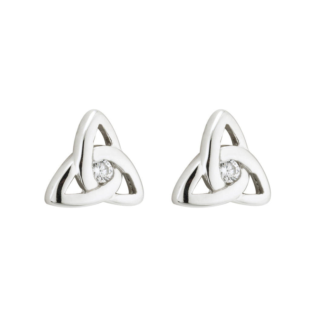 Sterling Silver Trinity Knot Earrings with Glass Stones