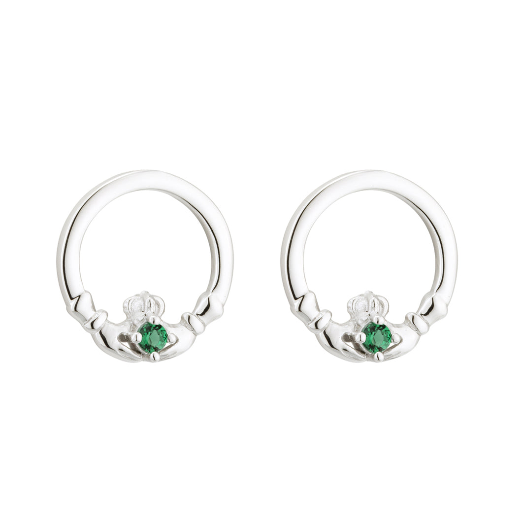Sterling Silver Claddagh Earrings with Emerald Green Hearts
