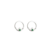 Load image into Gallery viewer, Sterling Silver Claddagh Earrings with Emerald Green Hearts