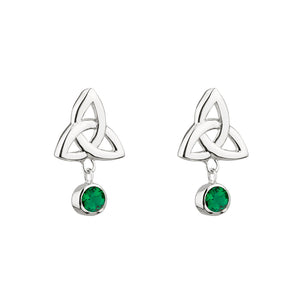 Sterling Silver Trinity Knot Earrings with Emerald Glass Stones
