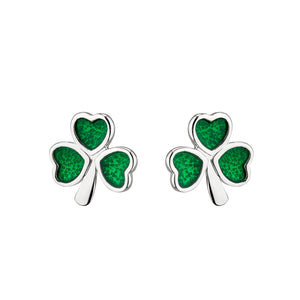 Sterling Silver Shamrock Stud Earrings with Emerald Green Stones