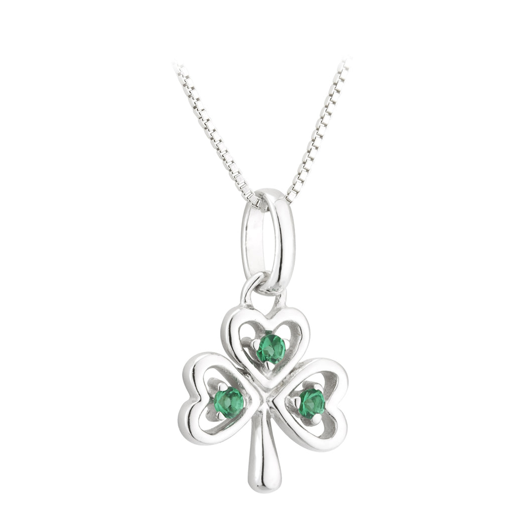 Sterling Silver Shamrock Necklace with Emerald Green Stones