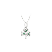 Load image into Gallery viewer, Sterling Silver Shamrock Necklace with Emerald Green Stones