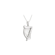 Load image into Gallery viewer, Sterling Silver Irish Harp Necklace