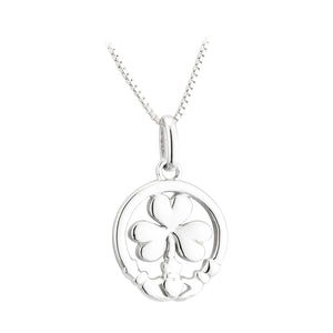 Sterling Silver Claddagh & Shamrock Necklace