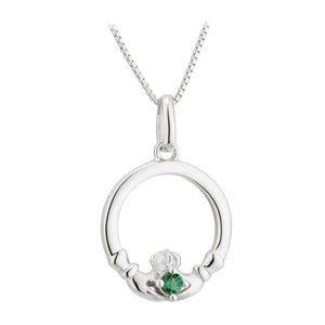 Sterling Silver Claddagh Necklace with Emerald stone heart