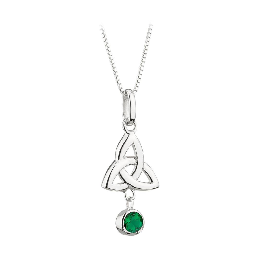 Sterling Silver Trinity Knot Necklace with Emerald Glass Stone