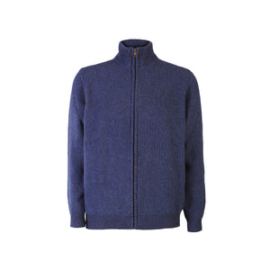 Seed Stitch Zip Sweater, Indigo
