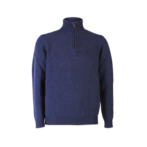 Seed Stitch Zip Neck Sweater, Indigo