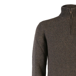 Seed Stitch Zip Neck Sweater, Tapenade