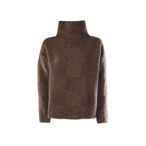 Shadow Block Mock Sweater, Navy Olive