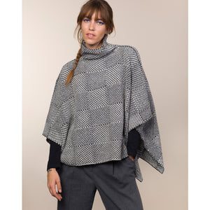 Shadow Block Mock Poncho, Pebble