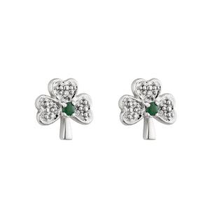 14K White Gold Small Diamond & Emerald Shamrock Earrings