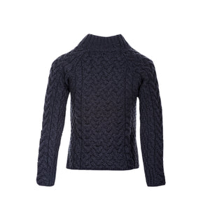 Shaped Neck Aran Sweater, Charcoal