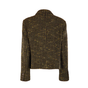One Button Short Jacket - Green Bubble Tweed