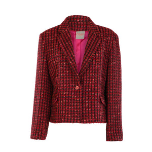 One Button Short Jacket - Red Bubble Tweed