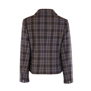 Three Button Short Jacket - Blue & Grey Check