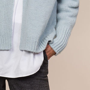 Short Edge to Edge Cardigan, Duck Egg