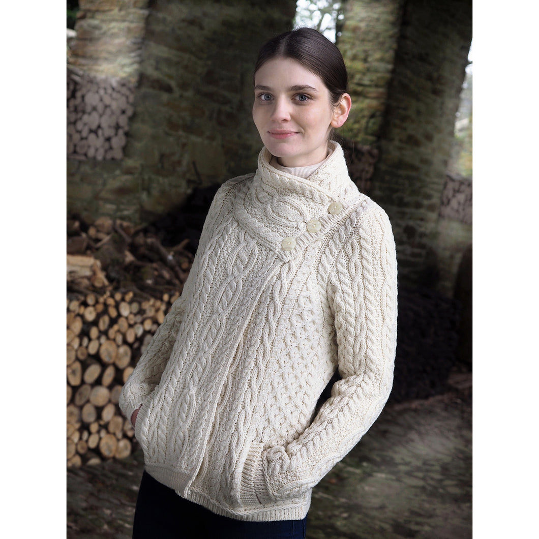 Short Three Button Crossover Cardigan, Natural