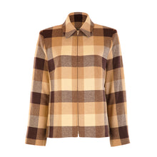 Load image into Gallery viewer, Short Zip Jacket - Camel & Brown Square