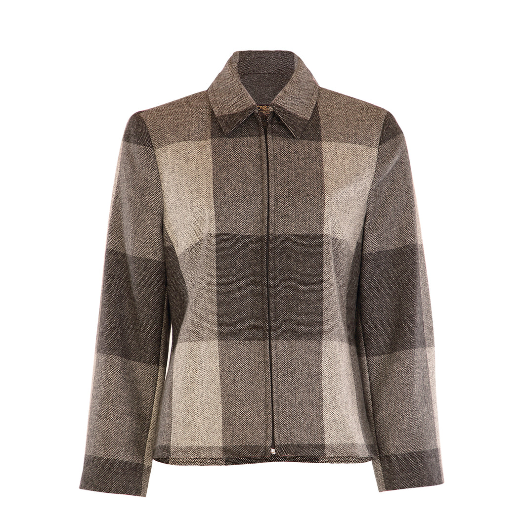 Short Zip Jacket - Grey Square