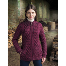 Load image into Gallery viewer, Purple Mix Aran Zip Cardigan