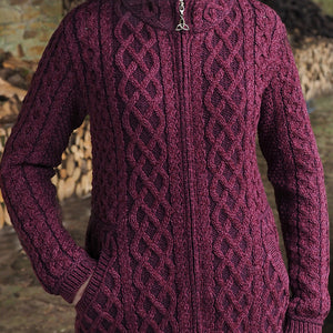 Purple Mix Aran Zip Cardigan