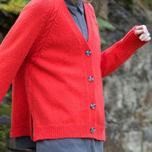 Load image into Gallery viewer, Red Merino & Cashmere Blend Raglan Sleeve Cardigan