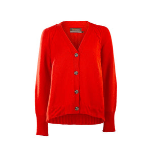 Red Merino & Cashmere Blend Raglan Sleeve Cardigan
