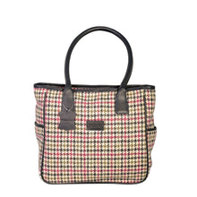 Load image into Gallery viewer, Sienna Tote, Pink & Green Houndstooth