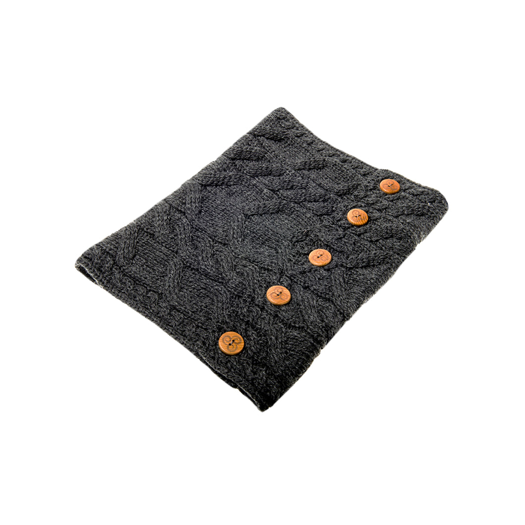 Aran Snood with Buttons, Charcoal