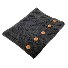Load image into Gallery viewer, Aran Snood with Buttons, Charcoal