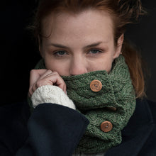 Load image into Gallery viewer, Aran Snood with Buttons, Green