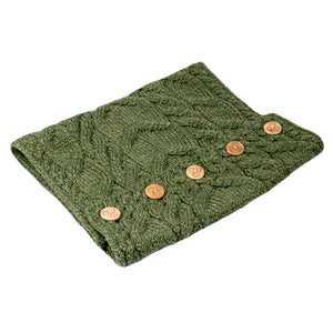 Aran Snood with Buttons, Green
