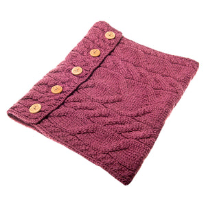 Aran Snood with Buttons, Rose