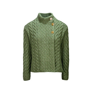 Supersoft Crossover Button Cardigan, Green