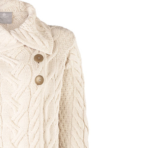 Supersoft Long Button Cardigan, Natural