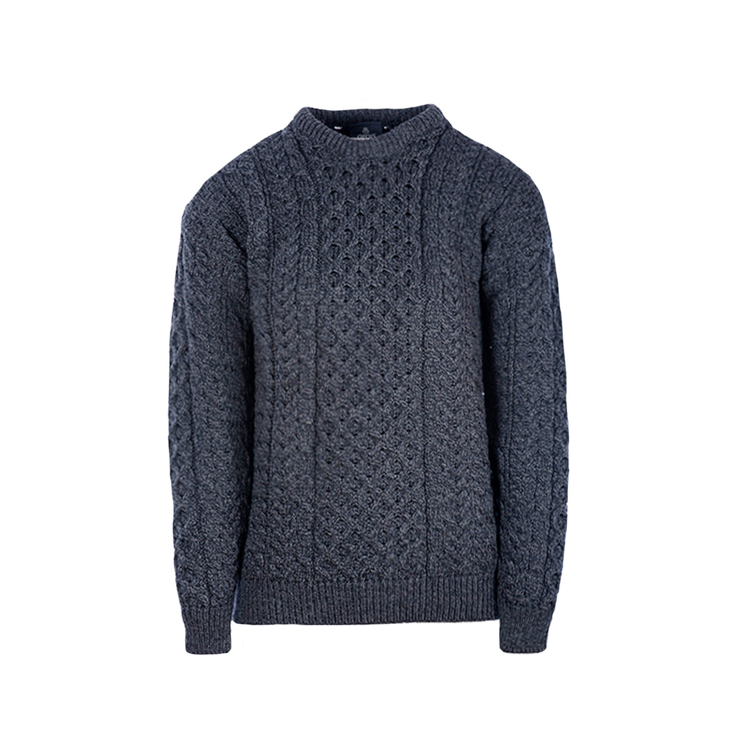 Aran Crew Neck Sweater, Charcoal