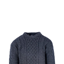 Load image into Gallery viewer, Aran Crew Neck Sweater, Charcoal