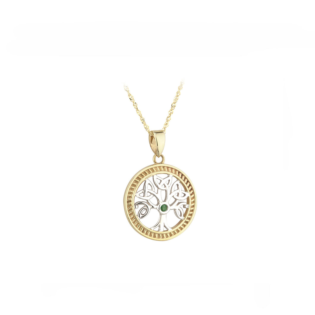 Tree of Life Pendant with Emerald, Yellow & White Gold