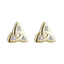 Load image into Gallery viewer, Small Trinity Knot Stud Earrings with Diamond, Yellow Gold
